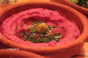 Kazamaza beet hummus