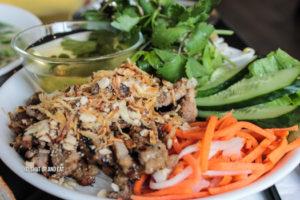 Pork rice vermicelli bowl.