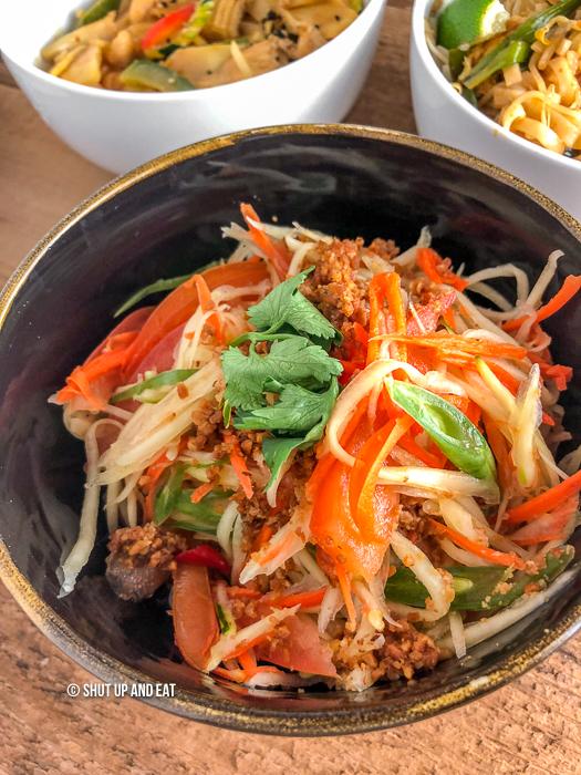 Bowl of spicy Papaya salad