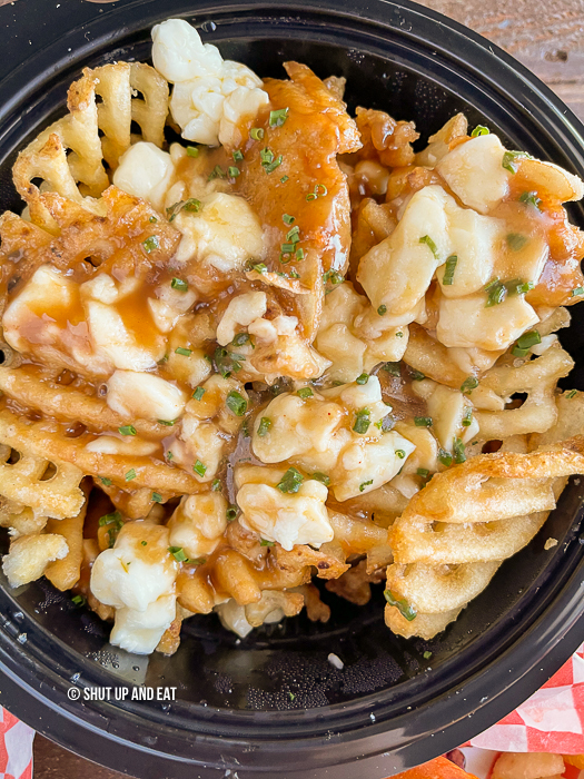Poutine with waffle fries