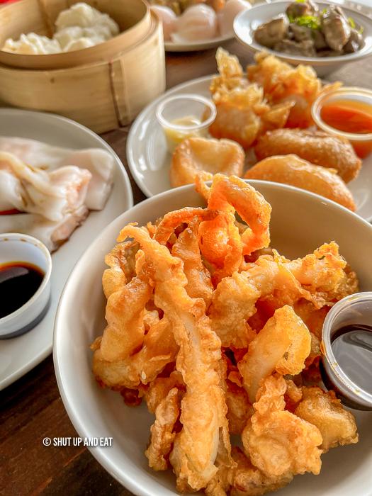 Fried squid tentacles
