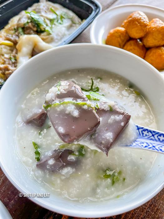 Pork blood jello congee