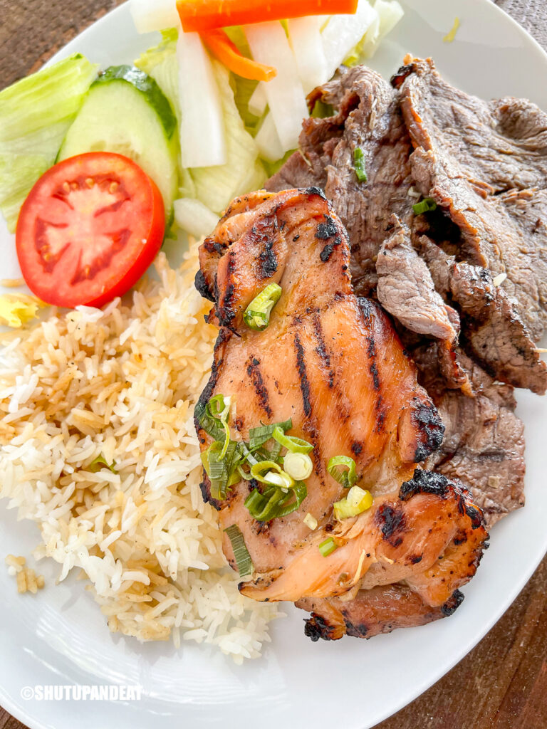 grilled meats and rice